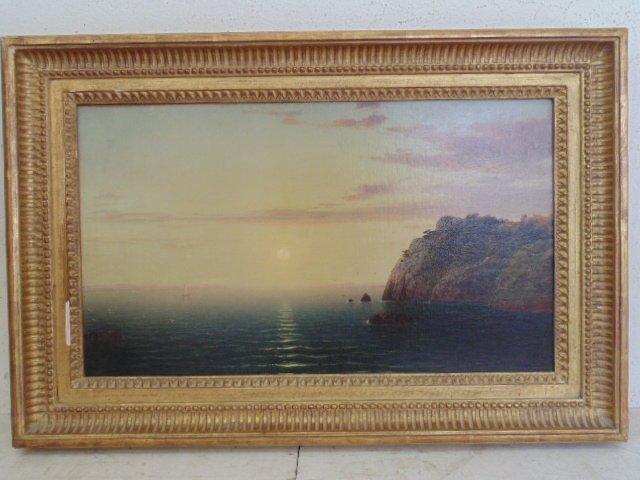O/C, coastal scene, Newport, RI, J.F. Kensett
