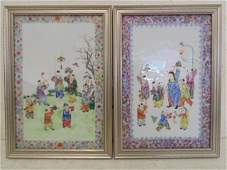 Pair old Chinese porcelain plaques, children