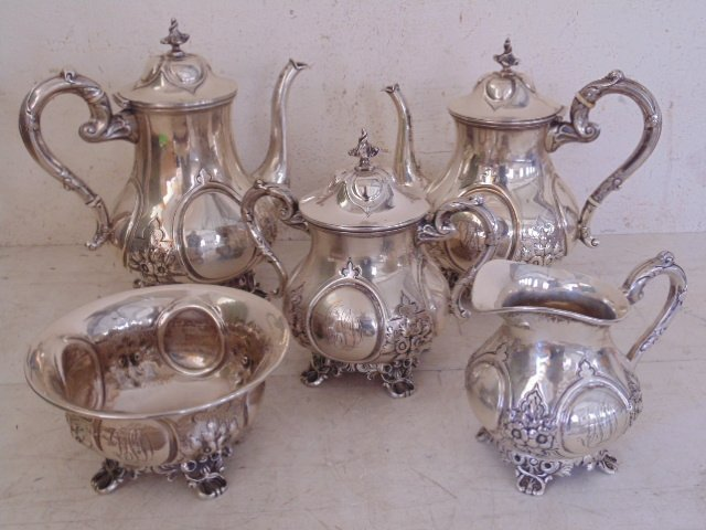 5 piece sterling tea set by Adolph Himmel, New Orleans