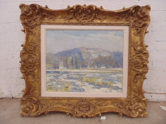 O/C, winter scene, houses, signed Morgan Colt