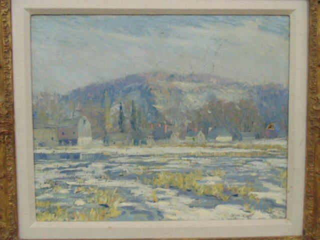 O/C, winter scene, houses, signed Morgan Colt - 2