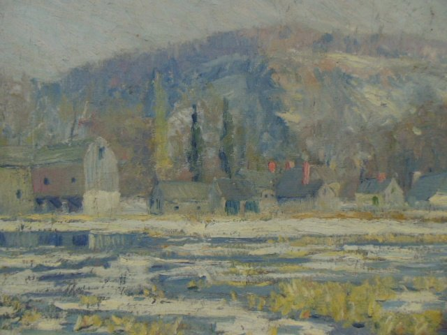 O/C, winter scene, houses, signed Morgan Colt - 3
