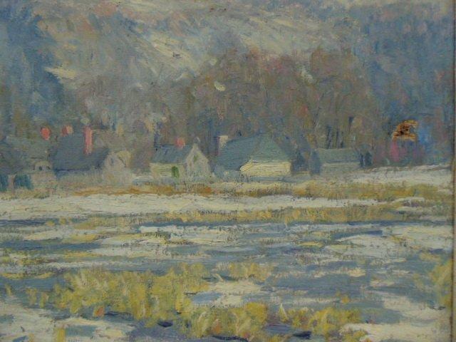 O/C, winter scene, houses, signed Morgan Colt - 4