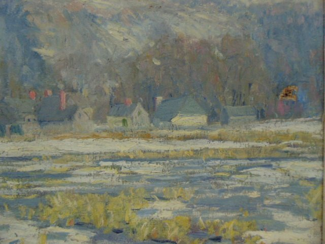 O/C, winter scene, houses, signed Morgan Colt - 4