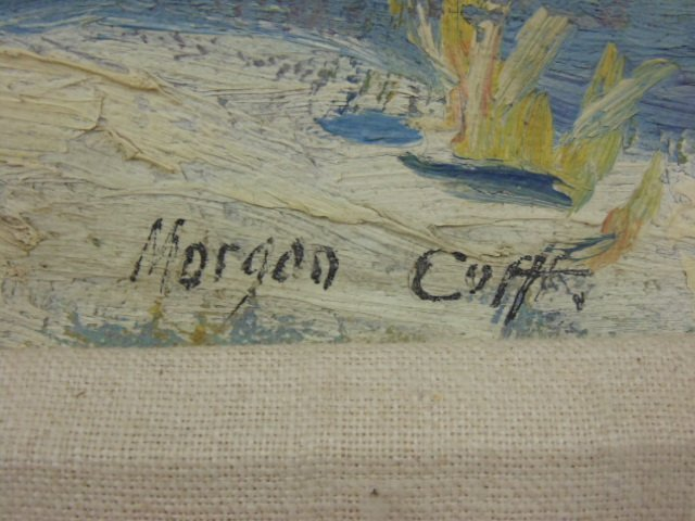 O/C, winter scene, houses, signed Morgan Colt - 5