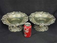 Pair sterling silver tazzas floral decoration
