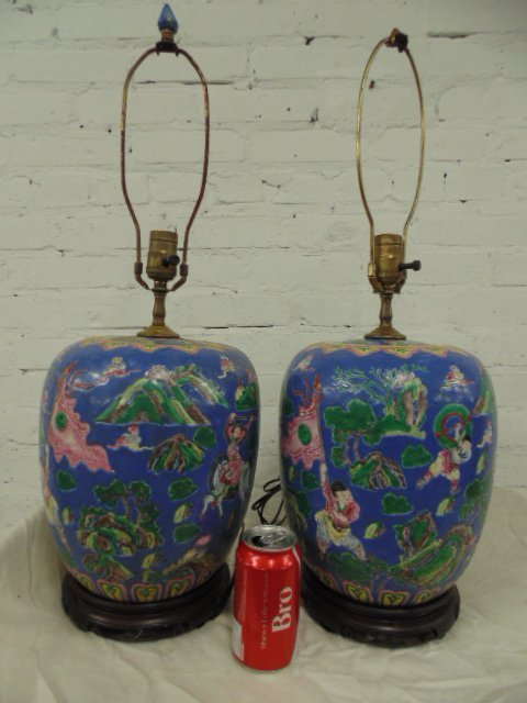 Pair ginger jars turned to lamps, signed
