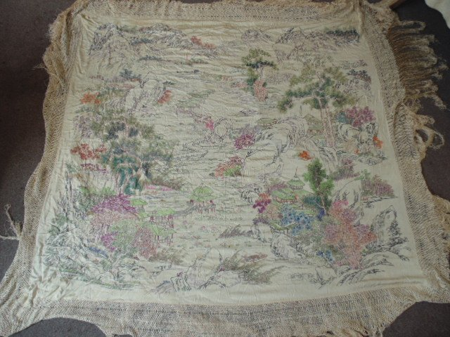 Embroidered Asian shawl, landscapes & temples