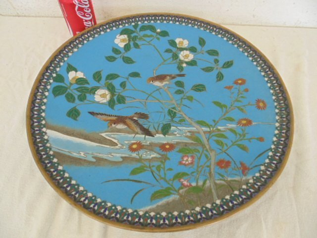 Large cloisonne tray with bird