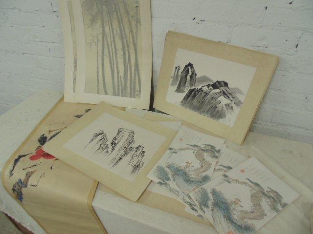Lot Asian drawings & woodblocks