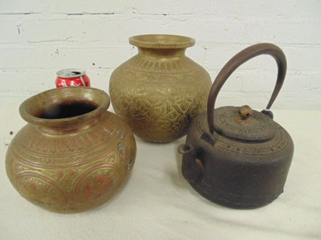 2 early brass vases & early teapot with design