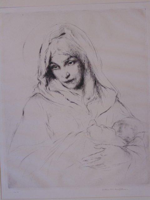 "Pair etchings, ""La madone"", Arthur Wm. Heintzelman"
