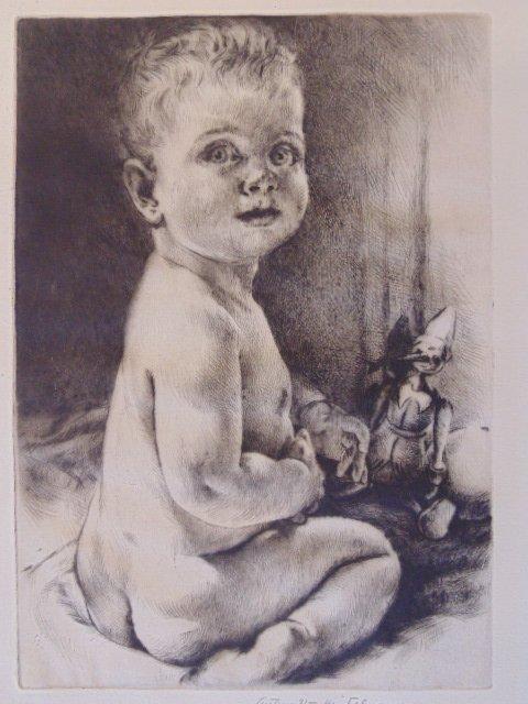 "Etching, ""Nude baby"", Arthur Wm. Heintzelman"