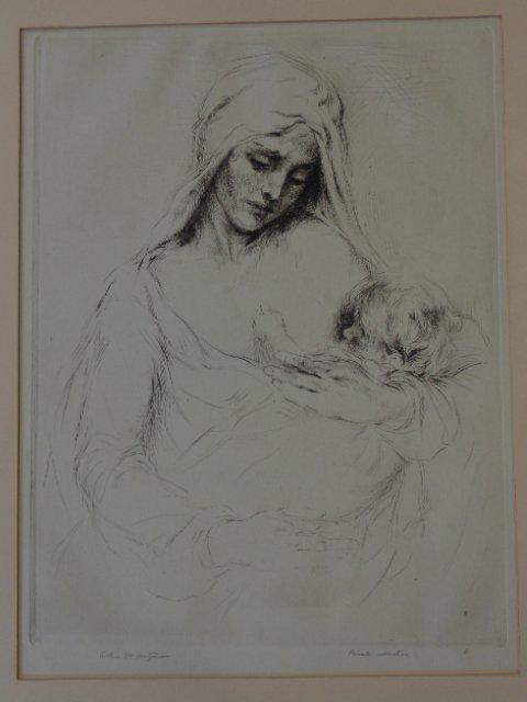 "Etching, ""La Varge at S'Enfante Jesus"""