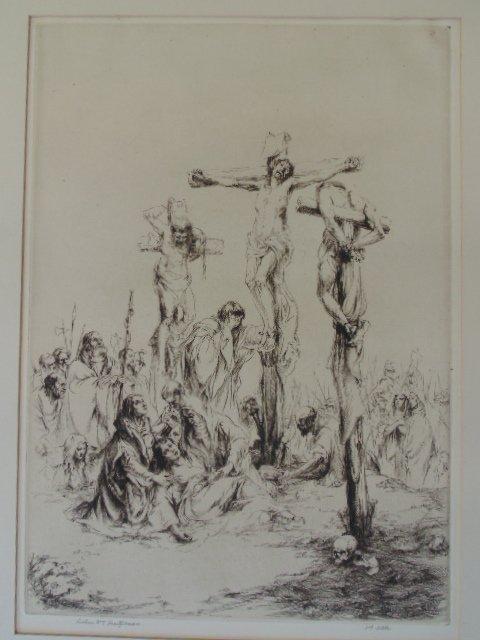"Etching, ""Jesus on the cross"", Arthur Wm. Heintzelman"
