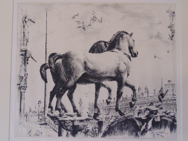 "Etching, ""Cavalli di S. Marco-Venetia"", Arthur Wm."