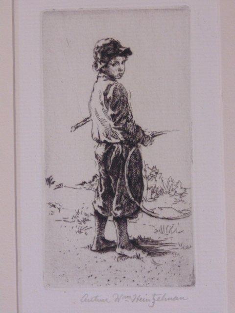 "Etching, ""The Little Gamin"", Arthur Wm. Heintzelman"