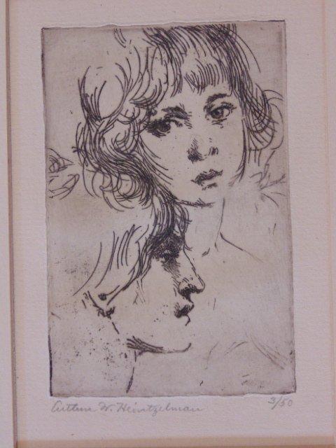 "Etching, ""Heads"", Arthur Wm. Heintzelman"