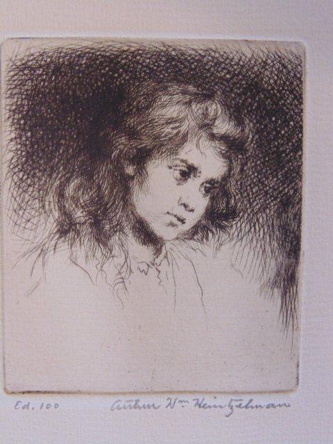 "Pair etchings, ""Maria"", Arthur Wm. Heintzelman"