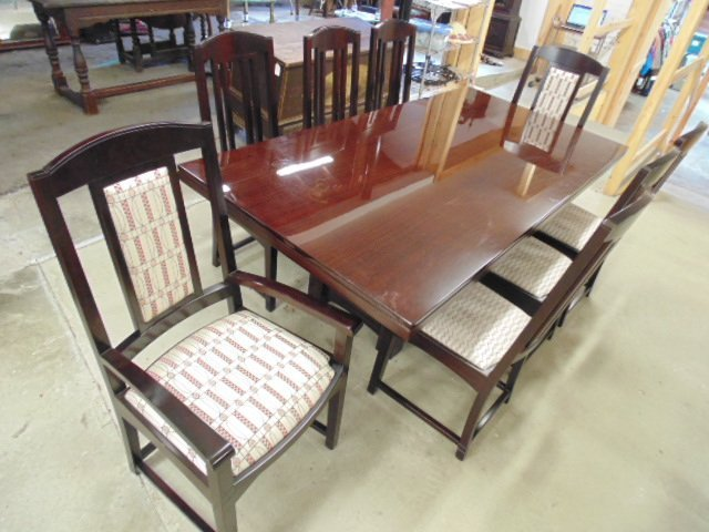 David Estreich mahogany dining table & 8 chairs
