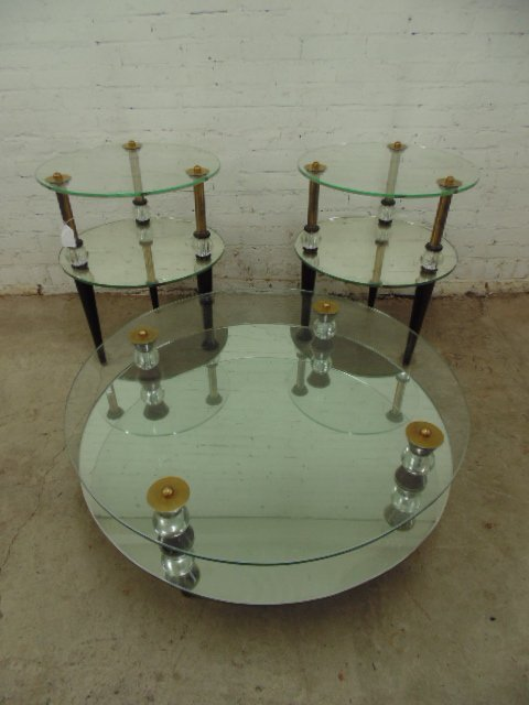 3 piece set mirrored two tier mid Century glass tables