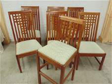 Set 6 Stickley dining chairs plus additional barstool