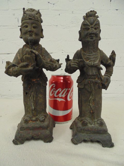 Pair early bronze Chinese figures