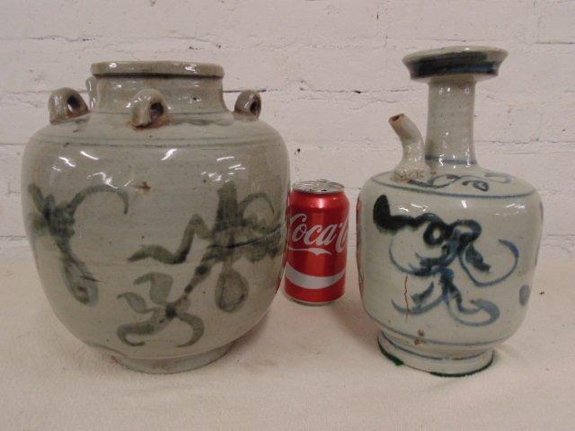 2 Ming glazed pottery jars