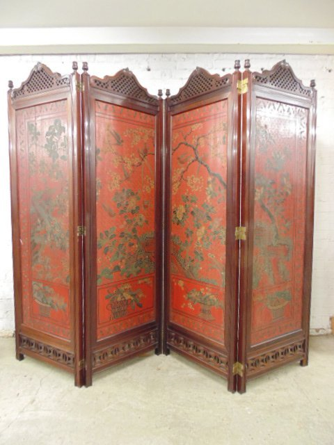 fine early carved wood and coromandel Chinese screen
