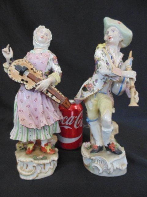 Pair Meissen porcelain figures