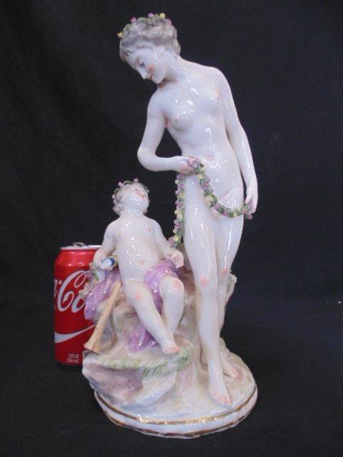 Meissen statue, nude lady & putty
