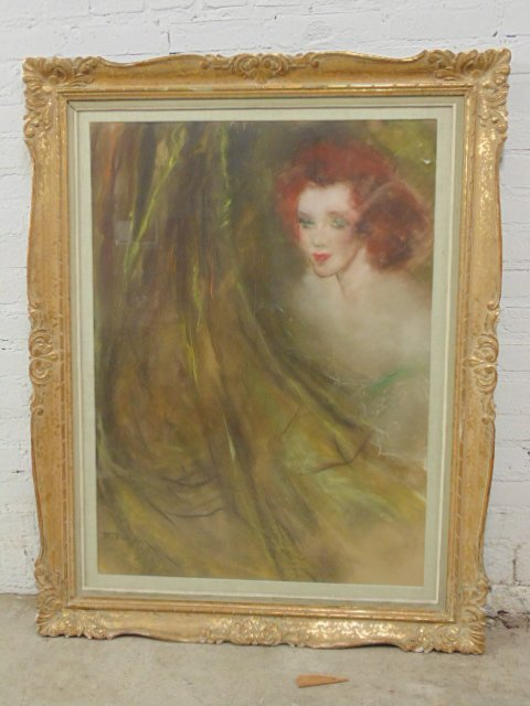 Pastel, lady with red hair, signed Pal Fried