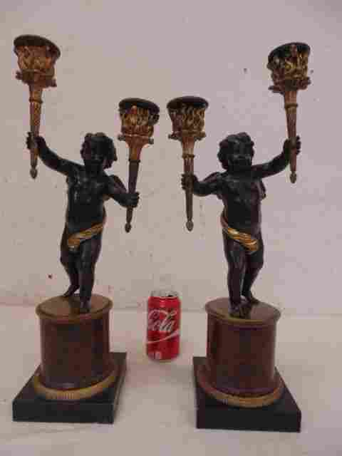 Pair patinated bronze figural candelabra