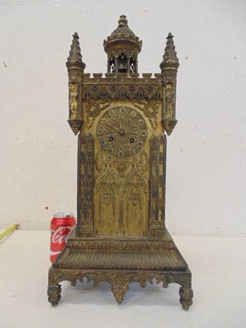 Gothic mantle clock by Delaunoy, early 19th Century