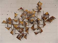 Brutalist wall sculpture, signed William Bowie,