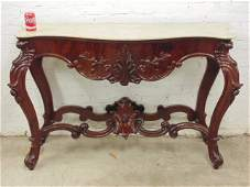 Mahogany console table carved base  marble top