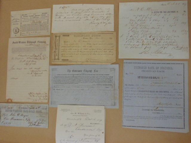 Lot of 9 documents, Telegraph Co, Rail Road