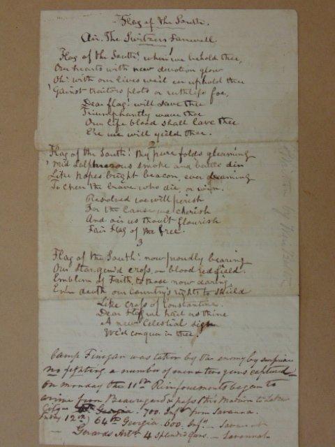 """Handwritten poem, """"Flag of the south"""", Shreveport LA"""
