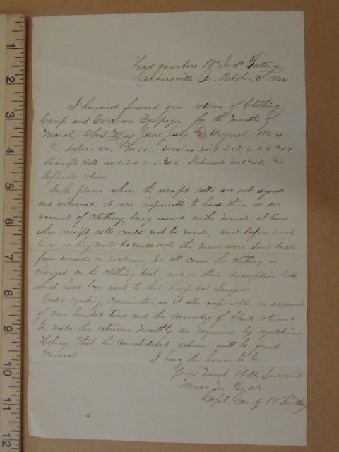 Handwritten note, headquarter 18th Ind battery