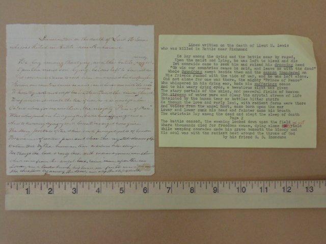 Handwritten note with transcript, death of Lieut