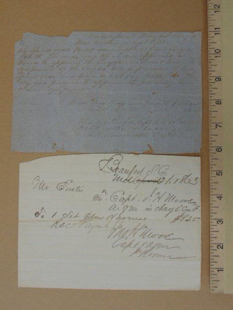 2 handwritten notes, Beaufort SC & Chattanooga