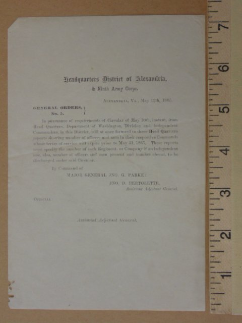 Pamphlet, Headquarters District of Alexandria