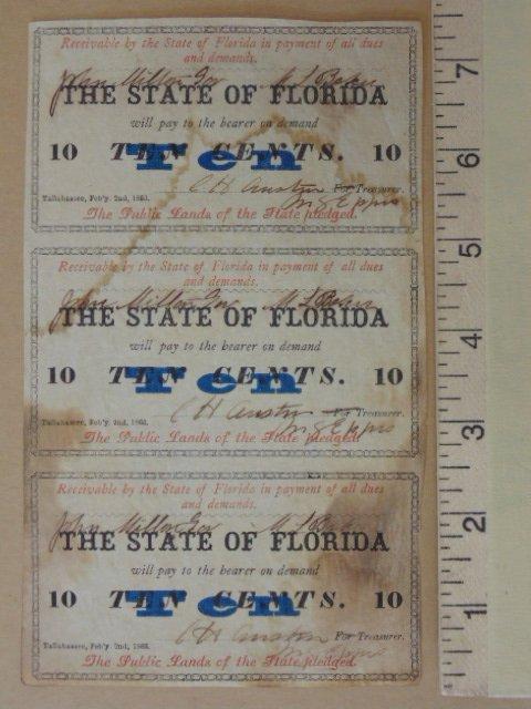 lot (3) 10 cent bearer bonds, issued Febr. 1863