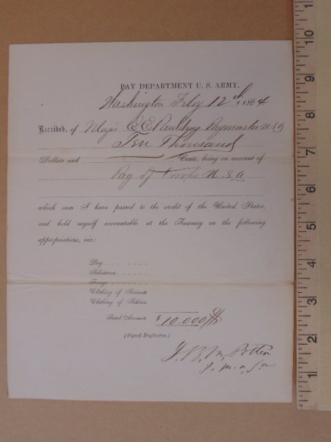 Note, Pay Department, U.S. Army, Washington 1864