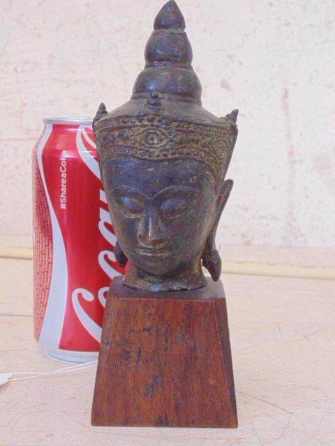 "Tibetan Buddha bronze head bust, 6.75"""