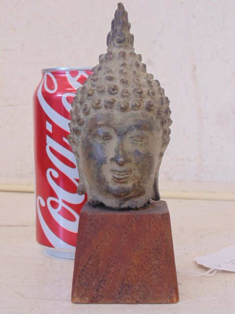 "Tibetan Buddha bronze head bust, 7.5"""
