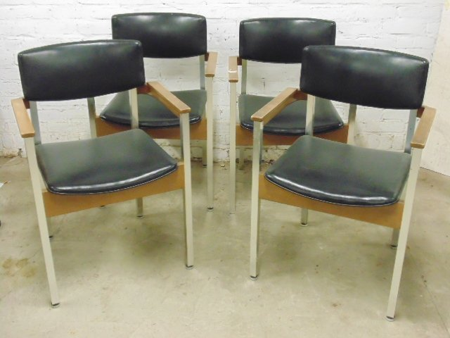 Set of 4 Thonet office chairs, wood and metal