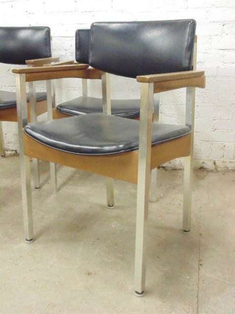 Set of 4 Thonet office chairs, wood and metal - 3