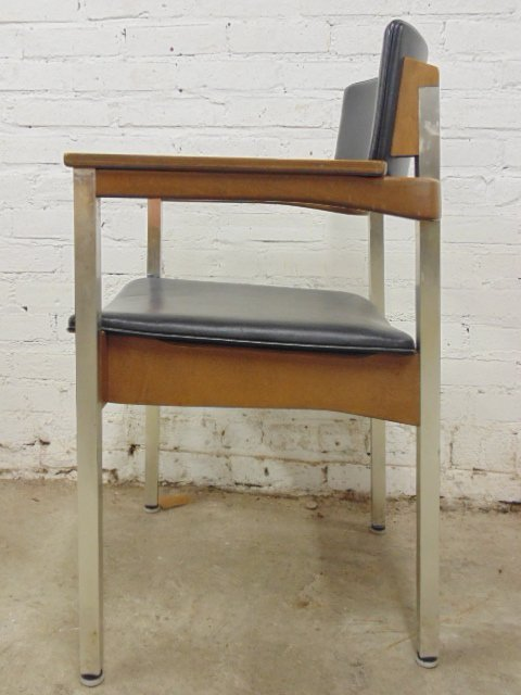 Set of 4 Thonet office chairs, wood and metal - 4