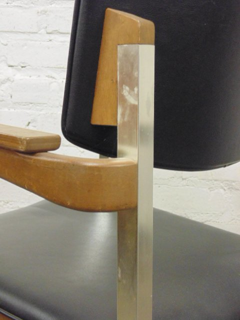Set of 4 Thonet office chairs, wood and metal - 5